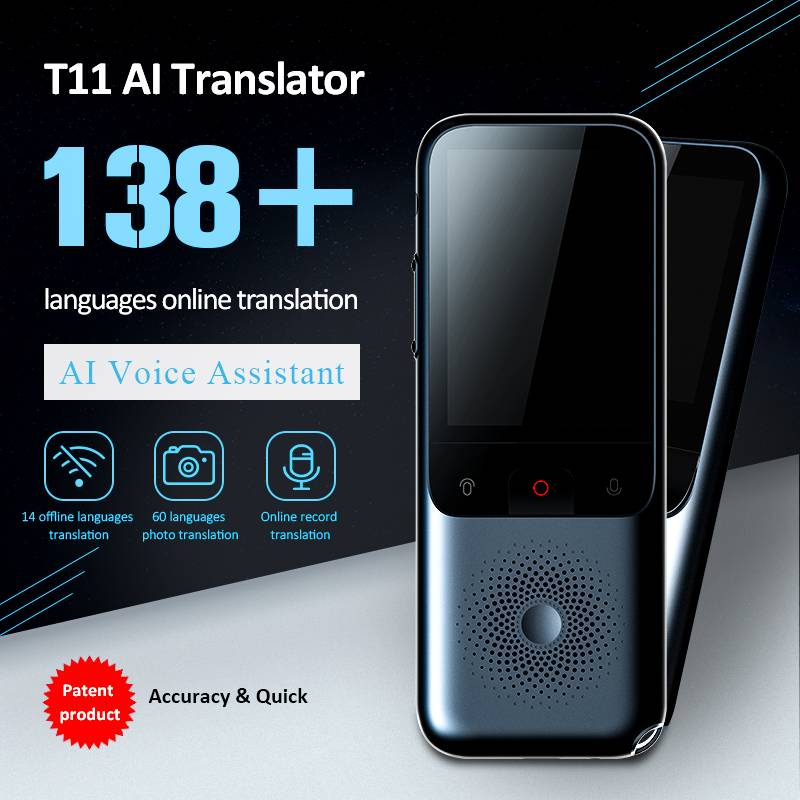 T11 Travel Instant Translator 138 Languages Online Offline Dialect Real-time Voice Recording Translation HD Noise Reduction image