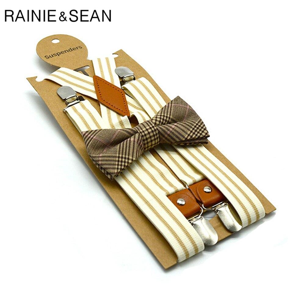 RAINIE SEAN Bow Tie Suspenders Men Women Vintage Suspenders Braces Beige Striped X Back 4 Clips Retro Party Unisex Pants Strap