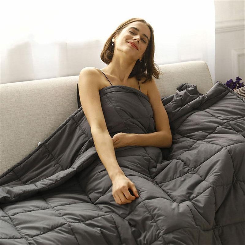 Sleep aid ponderada cobertor 20 lbs 15 lbs contas de vidro adulto crianças 100% algodão colcha pesada para o autismo ansiedade insônia rei rainha