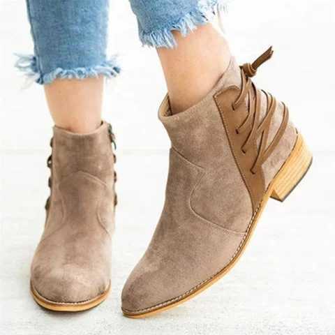 Nouvelle mode femmes bottines hiver Femme femmes automne chaussures décontractées mi-talon daim gommage léopard dames chaussures Femme chaussons