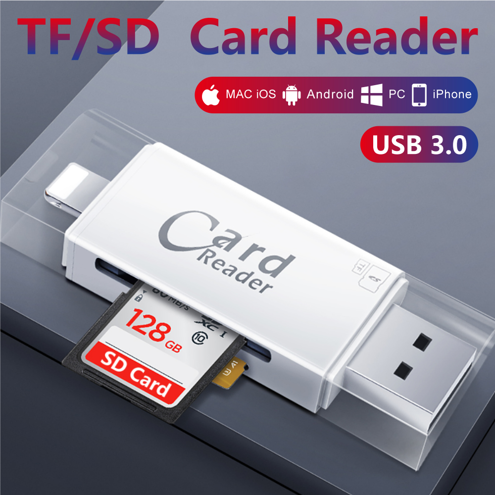 HOT! 3 In 1 OTG Memory Card Reader Micro SD TF USB OTG Card Reader Adapter For IPhone X 8 7 6 Plus S8 S9 Note 8 S6 S7