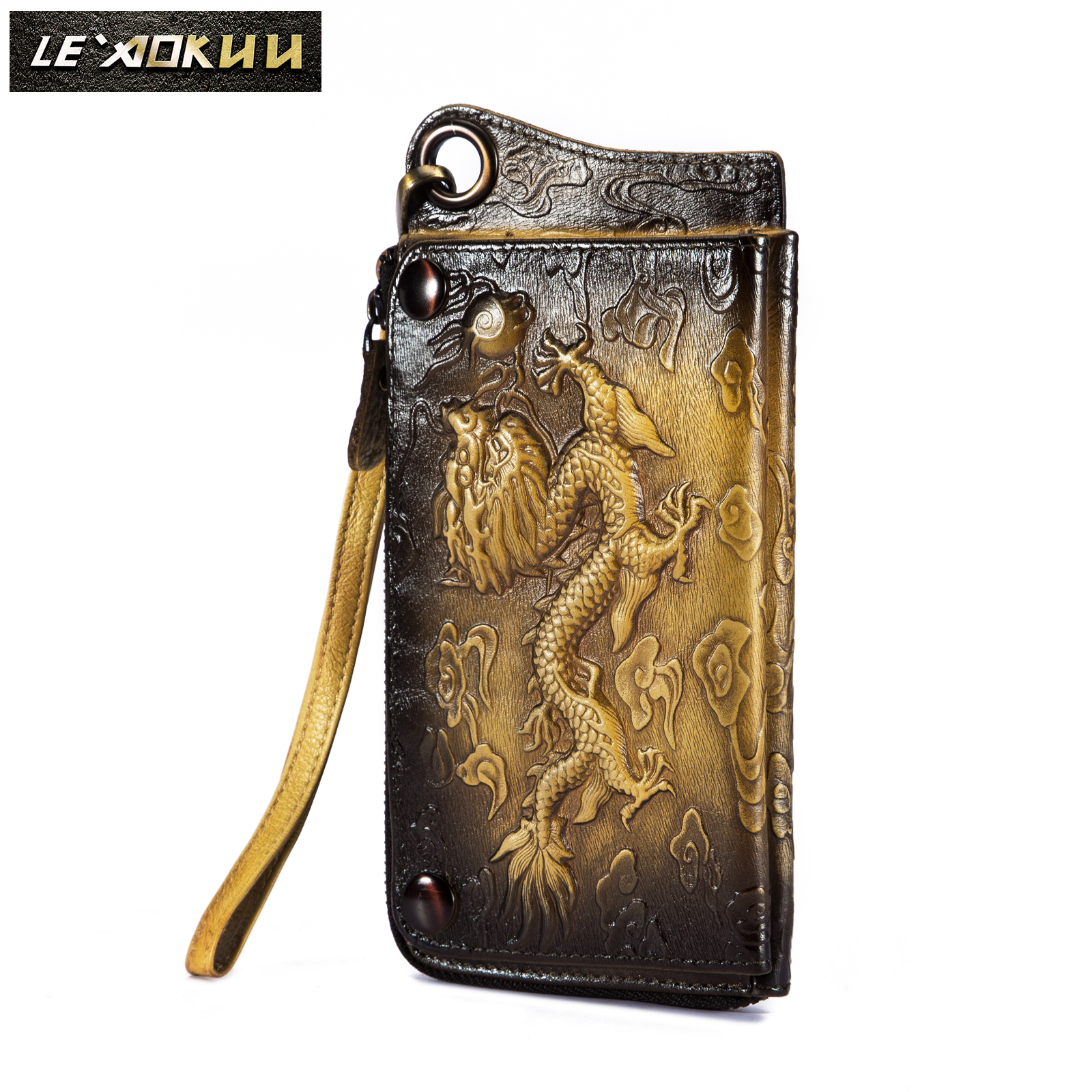 Fashion Male Organizer Leather Design Animal Emboss Checkbook Chain Zipper Pocket Wallet Purse Clutch Phone Sleeve Men Ck001-1c