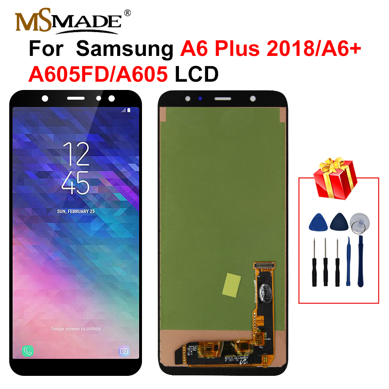 A605 LCD For Samsung Galaxy A6 Plus 2018 LCD Display Touch Screen Digitizer Replacement Parts For A605 A6+ A605F A605FN LCD