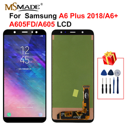 A605 lcd do samsunga Galaxy A6 Plus 2018 dotykowy wyświetlacz LCD zamiana digitizera ekranu części dla A605 A6 + A605F A605FN LCD w Ekrany LCD do tel. komórkowych od Telefony komórkowe i telekomunikacja na