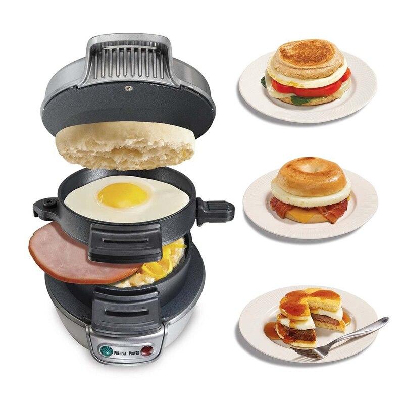 Electric Egg Sandwich Maker Mini Grill Pancake Panini Baking Plates Toaster Multifunction Non-Stick Hamburger Breakfast Machine