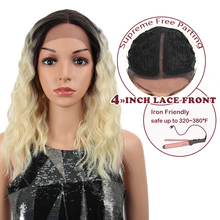 Magic 16 Inch Synthetic Lace Front Wigs For Black Women Ombre Blonde Natural Wav