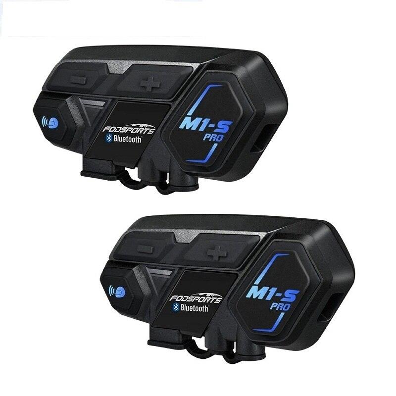 Fodsports 2 pçs M1-S pro capacete da motocicleta interfone fone de ouvido bluetooth 8 rider 2000 m interfone à prova dwaterproof água grupo bt interfone