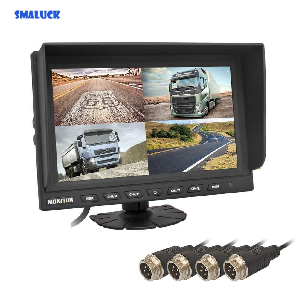 Автомобильный монитор заднего вида SMALUCK, 4 канала, 4pin, 9 , 4 раздельных ЖК экрана, цветной автомобильный монитор заднего вида для автомобиля, г