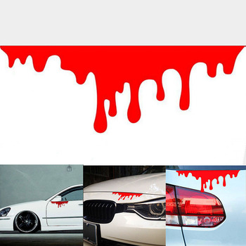 1Pc Design Blood Bleeding Car Stickers Reflective Car Decals Rear Front Headlight Sticker Door Window Car Body image