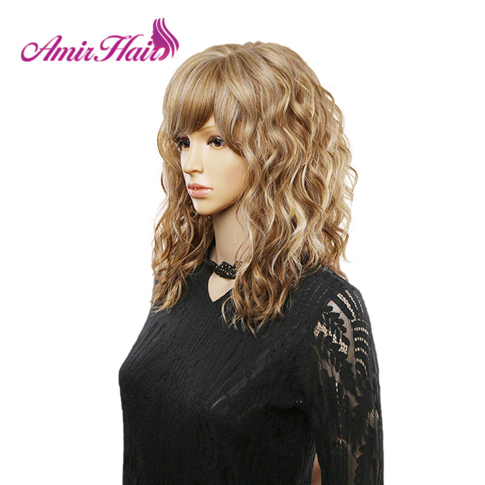 Amir Blonde Curly Synthetic Wigs With Free Side Bangs Medium Length Heat Resistant Fiber Cosplay Wigfor Africa American Women