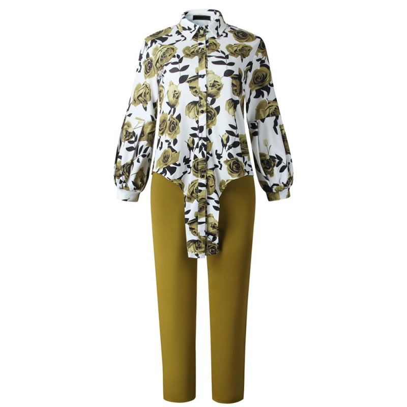 2 Pieces Set Long Sleeve Shirt And Pants Sexy Spring Autumn Fashion Women Sets Female Tops Floral Print Two Piece Sets