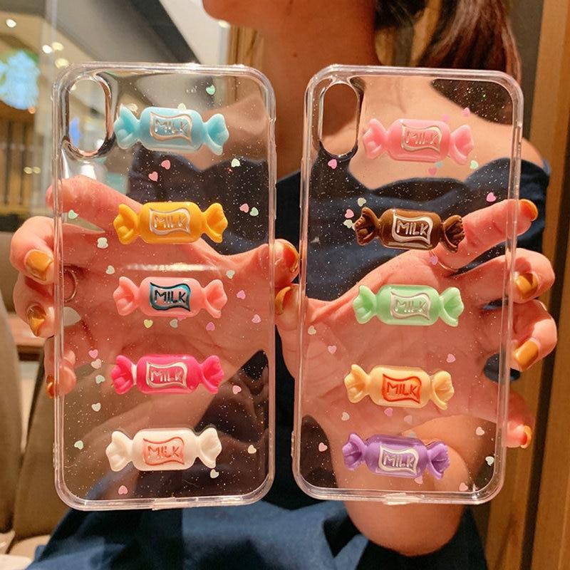 30 ピース/ロット iphone 8 プラス 7 プラス 6S プラス三次元キャンディーグリッタークリアかわいいバックケース iphone XS 最大 XR  グループ上の 携帯電話 & 電気通信 からの ハーフラップケース の中 1