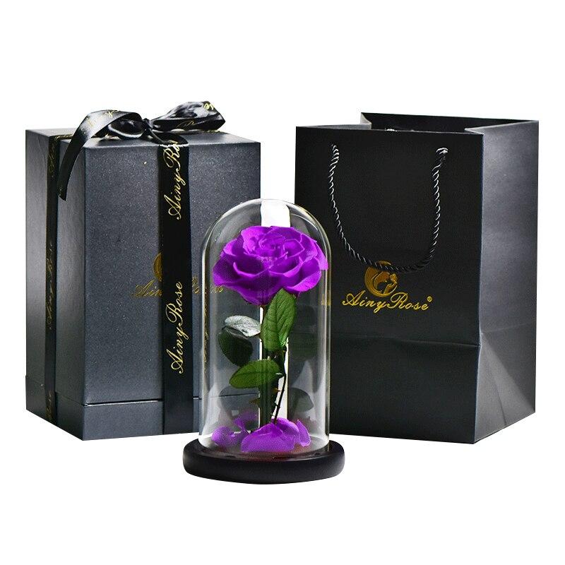 6 стилей,, свежие цветы красавицы и чудовища, красные вечные розы в стеклянном куполе, Рождественский подарок на день Святого Валентина, Прямая поставка - Цвет: purple with box