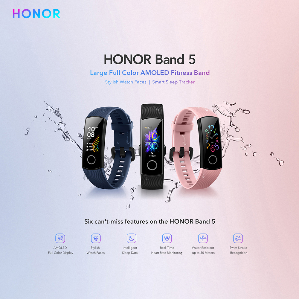 Huawei Honor Band 5 Fitness Bracelet BT4 2 Sleep Real Time Heart Rate Monitoring Waterproof Smart Huawei Honor Band 5 Fitness Bracelet BT4.2 Sleep Real-Time Heart Rate Monitoring Waterproof Smart Watch Multiple Sports Modes