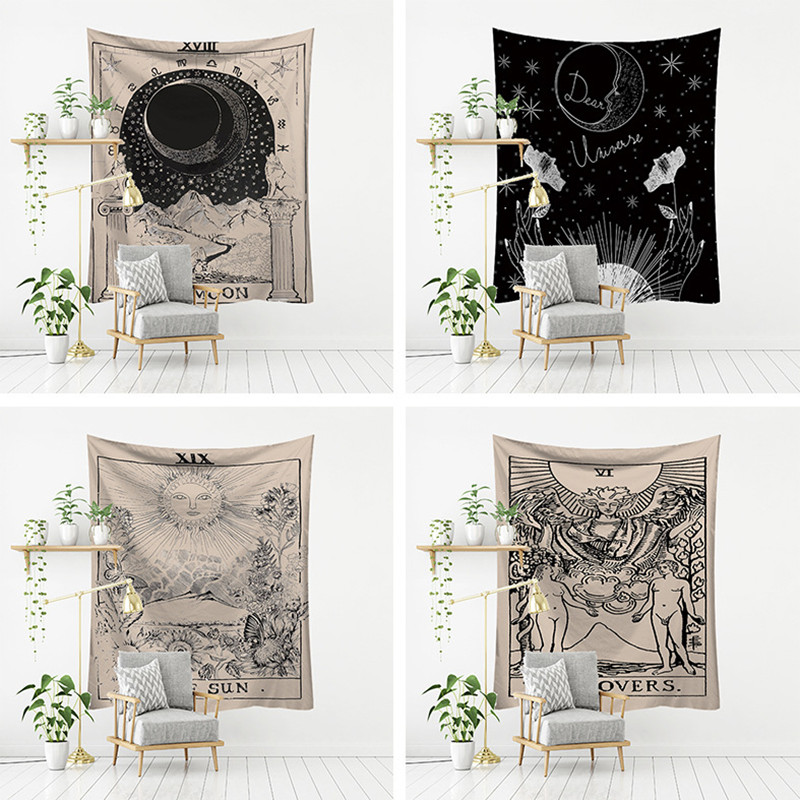 New Witchcraft Tarot Tapestry Wall Hanging Sun Moon Wall Tapestry Witchcraft Supplies Psychedelic Boho Decor Wall