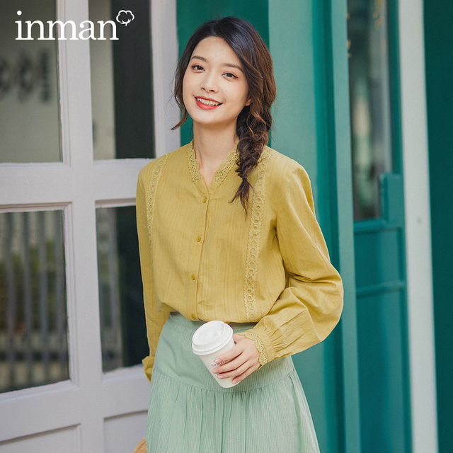 INMAN 2020 Spring New Arrival Literary Women Cotton V Collar Flower Lace Patchwork Long Sleeve Women Elegant Blouse