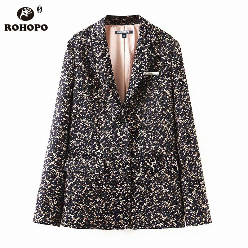 ROHOPO Printed Blazer Notched Collar Long Sleeve Side Flaps Welted Pockets Slim Ladies Retro Outwear #9150