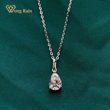 Wong Regen 100% 925 Sterling Zilver Pear Cut Gemaakt Moissanite Diamanten Edelsteen Bruiloft Romantische Hangende Ketting Fijne Sieraden