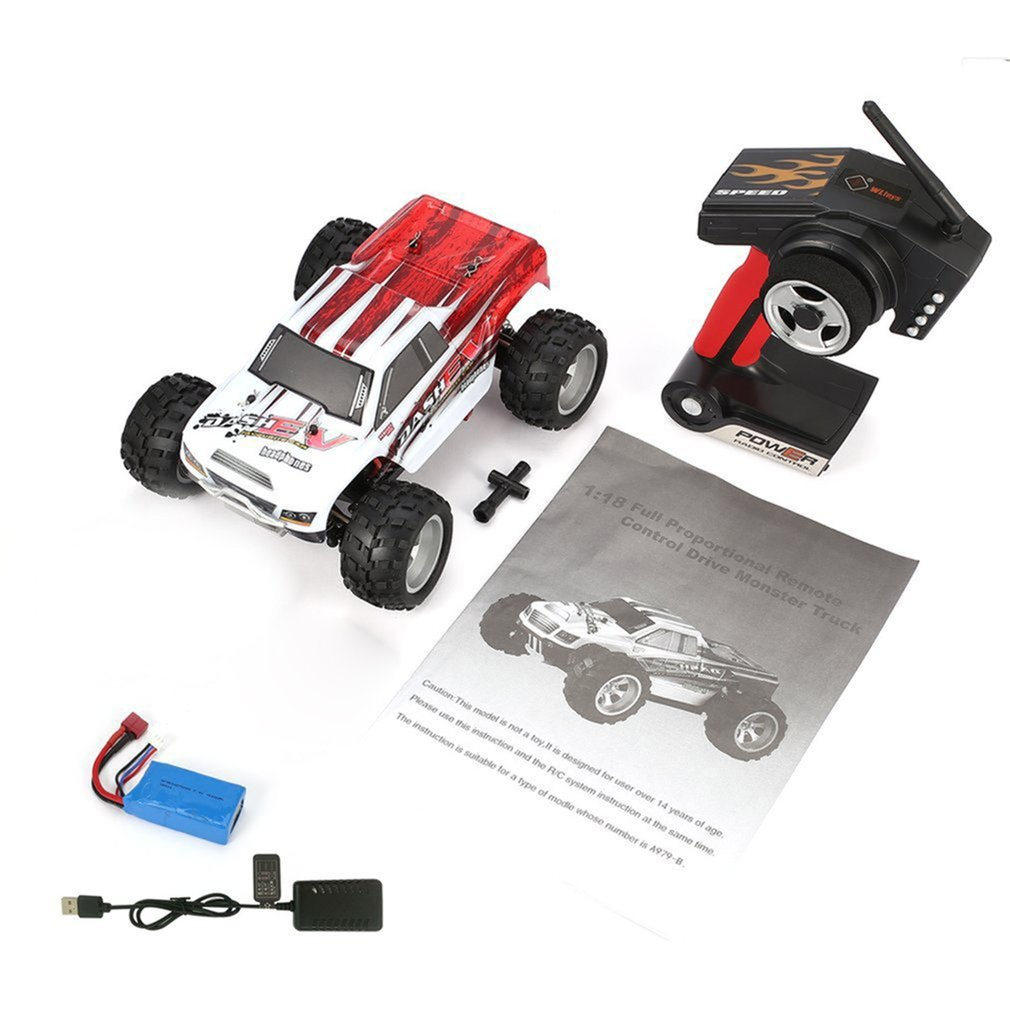 WLtoys A979-B 2.4GHz 1/18 Scale Full Proportional 4WD RC Car 70KM/h High Speed Brushed Electric Motor RTR Off-road Truck