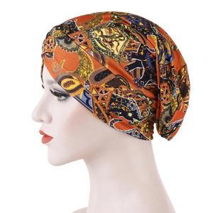 Image 5 - New Fashion Women Printed Sleep Night Cap Hat Ladies Hair Loss Cover Headscarf Turban Beanie Bonnet Islamic Muslim Headwear Caps