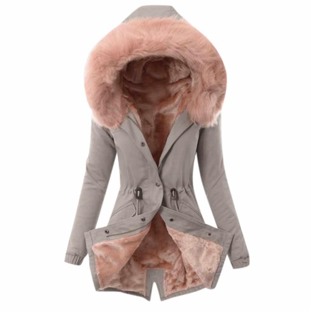 Nữ Có Mũ Lông Thú Giả Áo Khoác Plus Size Nữ Lông Áo Lông Nữ Mùa Đông Ấm Dày Dài Áo Khoác Có Mũ Trùm Bạt Phủ # g4