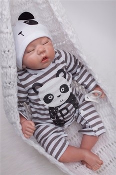 OtardDolls Bebe Reborn Dolls 22 inch Reborn Baby Doll Soft Vinyl Silicon Newborn Doll bonecas Panda Clothes For Children Gifts