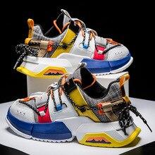 Zapatillas deportivas para hombre 2019 con costuras de lona, zapatillas deportivas para exteriores con estilo, zapatos internos aumentados para hombre con malla de aire de talla grande