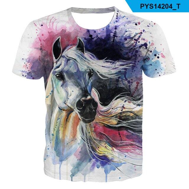 2021 Summer New kids boys O-neck Wearing a flower headband Horse T-shirt 3d Fashion T Shirt animal clothes Men Women Tshirt 1