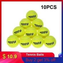 10 шт./пакет теннисные мячи резиновые тренировочные теннисные мячи для детей Для женщин теннисные мячи высокое устойчивость и тренировочных упражнений, перчатки для практики в форме теннисного мяча