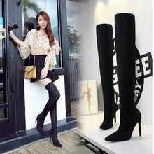 thigh high boots in over the knee boots suede leather womene women boots 2019 high heel boots Fine heel Black sexy women's boots women suede fashion side zipper over the knee boots comfortable square heel thigh elastic boots black wine red beige