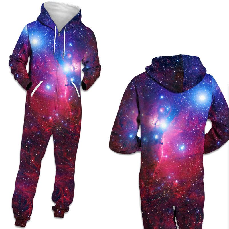 3D Space Galaxy Print Men's Long Sleeve Hoodies Jumpsuit Casual Zipper Tracksuit Pocket Unisex Sweatshirt Hooded Tops