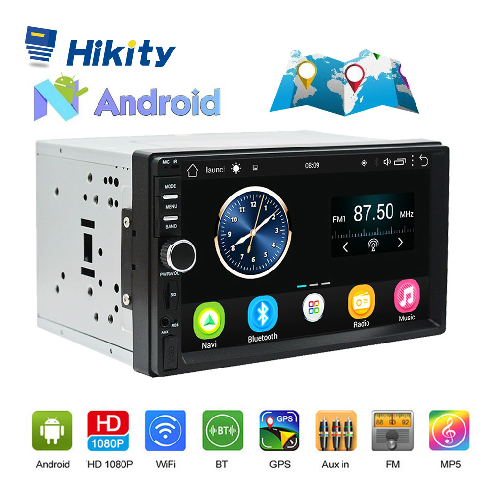 Hikity 7 Android Car Radio Stereo GPS Navigation 2 Din Touch USB Car Multimedia Player Audio