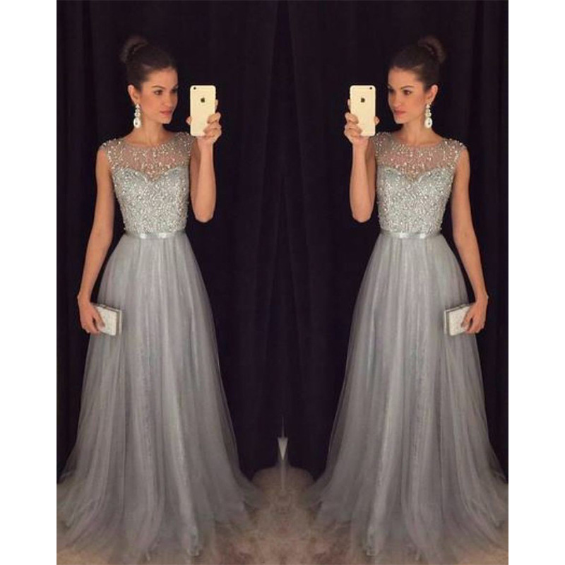 2019 Europe And America Autumn And Winter New Style Late Formal Dress Hot Selling Chiffon Sleeveless Sequin Formal Dress
