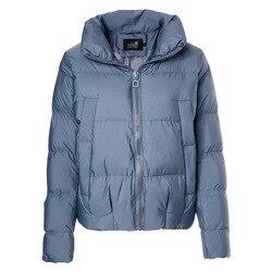 Nueva parka de algodón para mujer 2019 invierno de cuello alto de manga larga elegante abrigo sólido corto casual abrigos Parka femenina