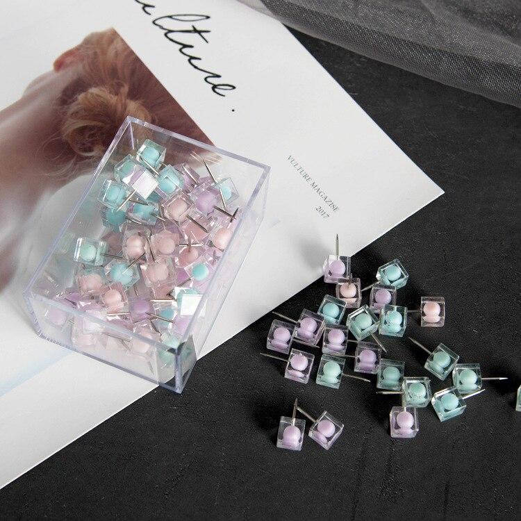 80pcs Transparent Crystal Push Pin Thumb Tacks Pins Dressmaking Decorations Push Pins Stationery Thumb Tacks Cork Board Pins