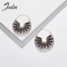 JOOLIM Natural Stone Hoop Earrings High Quality American Earring
