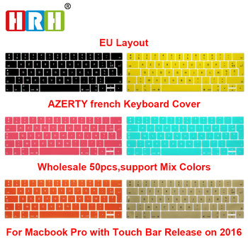 "HRH 50pcs EU French AZERTY Silicone Keyboard Cover Skin For Macbook Pro 13""A1706 and Pro 15"" A1707A2159 2018/2019 With Touch Bar"