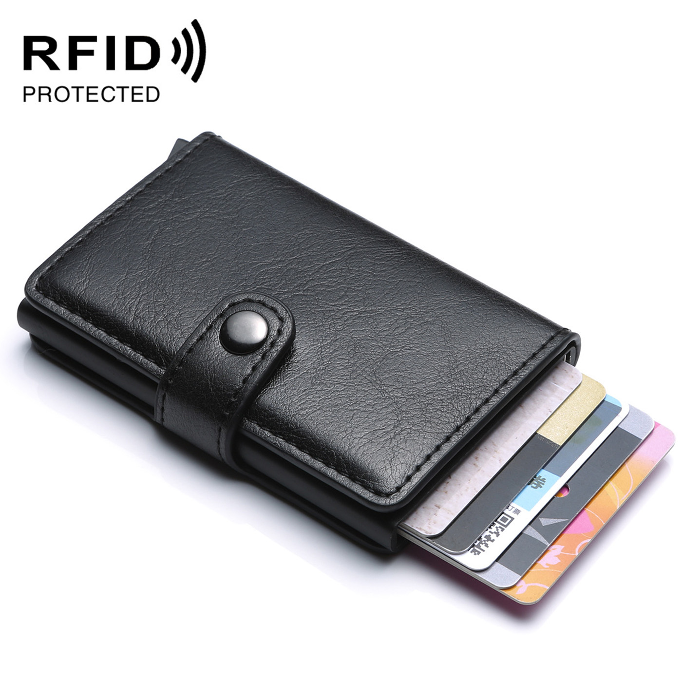 Quality Rfid Card Holder Men Wallets RFID Money Bag Male Vintage Black Short Purse Small Leather Slim Wallets Mini Wallets Thin