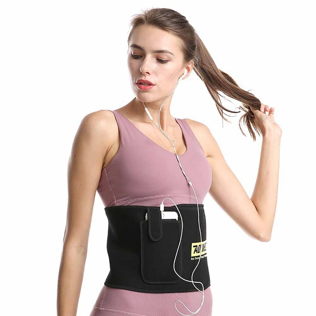 Waist Support Belt With Pocket, Adjustable Thermal Sweating Lumbar Warmer Protection Trainer Wrap 2