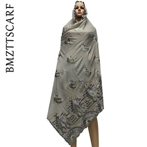 Image 4 - New Arrival African Women Scarf soft cotton embroidery scarfs for shawls ON SALES BM778