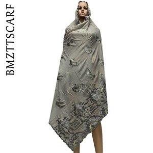 Image 4 - Yeni varış afrika kadınlar eşarp yumuşak pamuk nakış atkılar şal satış BM778