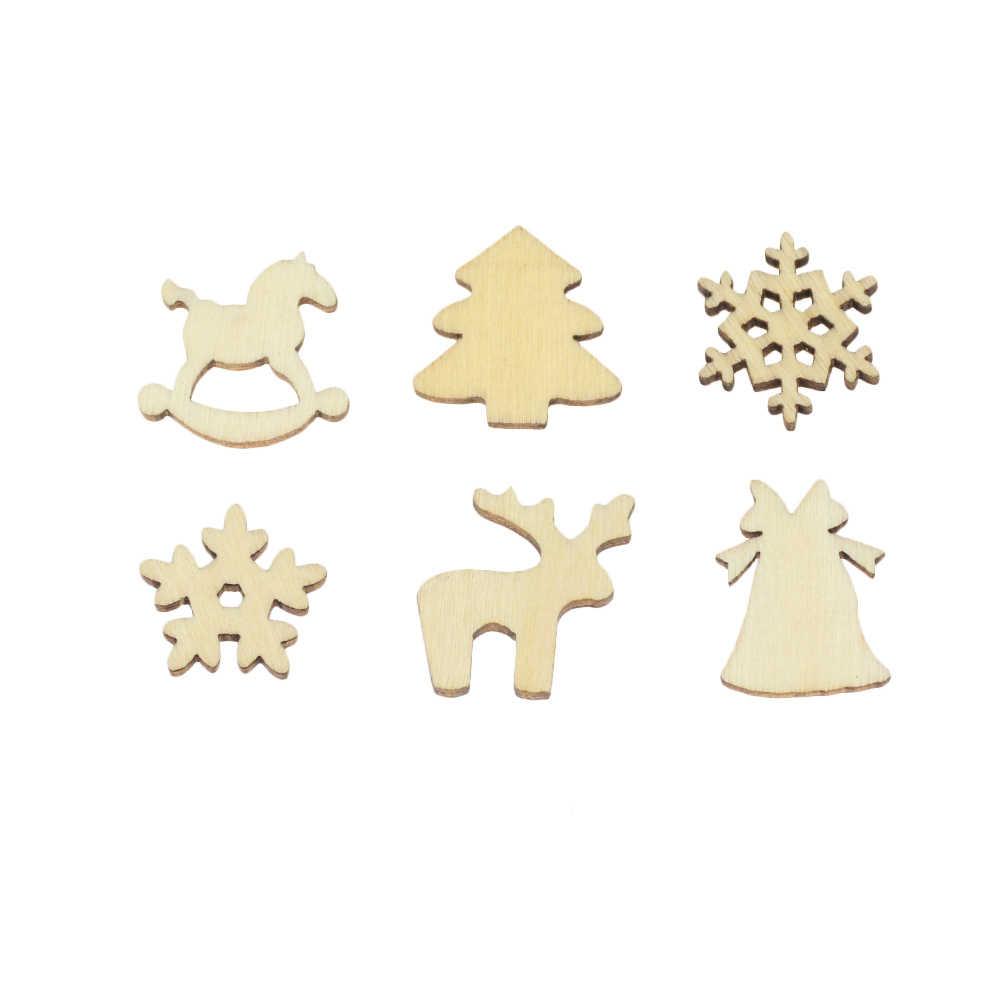 100 Uds adornos de madera para árbol de Navidad Mini copo de nieve colgantes adornos navideños para el hogar regalo de Año Nuevo