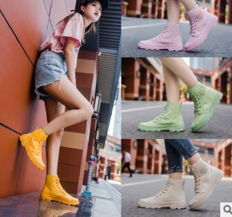 2019 autumn and winter candy color girls high canvas shoes breathable new Martin boots casual women's shoes 71