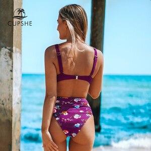 Image 2 - CUPSHE Burgund Floral High Taille Bikini Sets Sexy Push Up Badeanzug Zwei Stück Bademode Frauen 2019 Strand Badeanzüge