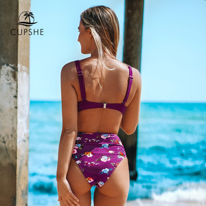 Image 2 - CUPSHE Burgundy Floral High Waisted Bikini Sets Sexy Push Up Swimsuit Two Pieces Swimwear Women 2020 Beach Bathing Suits
