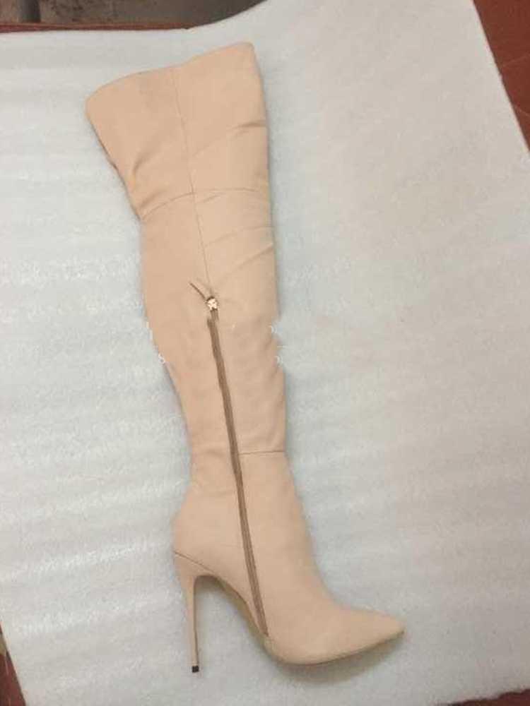 Süet deri uzun çizmeler sivri burun ince yüksek topuklu kadın Slim Fit kış diz üzerinde uyluk yüksek çizmeler üretimi zip Up