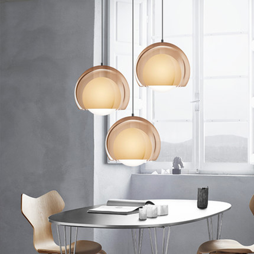 Modern Led Idea Double-layered Glass Pendant Lights Lighting Nordic Meal Bar Pendant Lamp Loft Restaurant Bedroom Light Fixtures