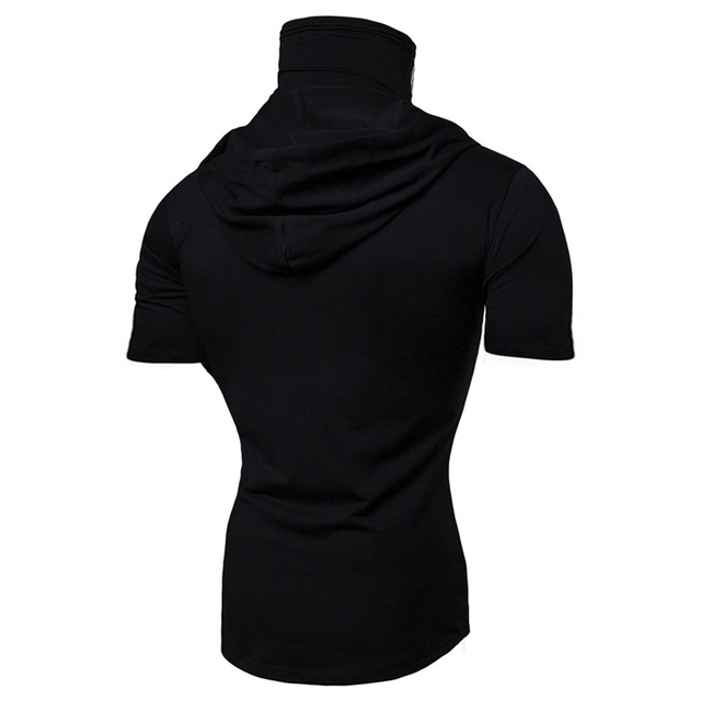 Fashion Short-Sleeved Mask Hooded Tops Men Casual Elastic Solid Fitness Hip Hop Slim Fit Male top tees Streetwear M-3XL 4