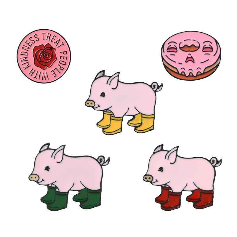 Rosa Coleção! Harry estilos pins redondo rosa flor chuva botas porco esmalte macio lapela pino distintivo broches