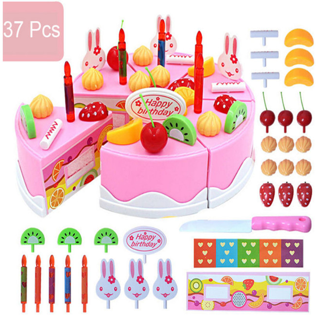 Cute Babies Lovely Model Cakes Kits 37pcs/Set Birthday Party Cake Set Role Pretend Play Kids Kitchen Food Toy Pink